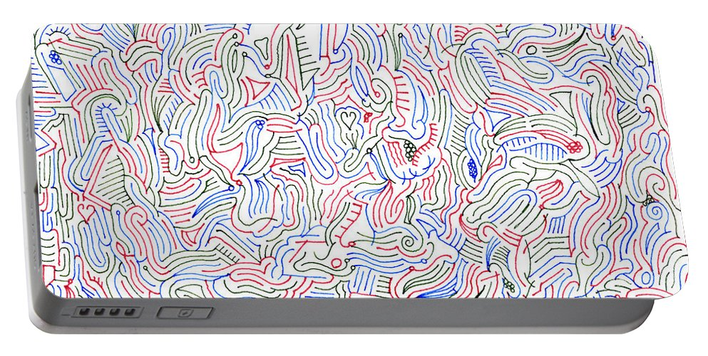 Mazes Portable Battery Charger featuring the drawing Reverie by Steven Natanson