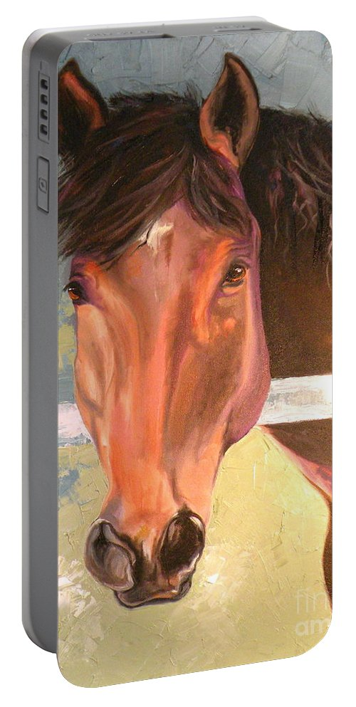 Horse Portable Battery Charger featuring the painting Reverie - Quarter Horse by Susan A Becker
