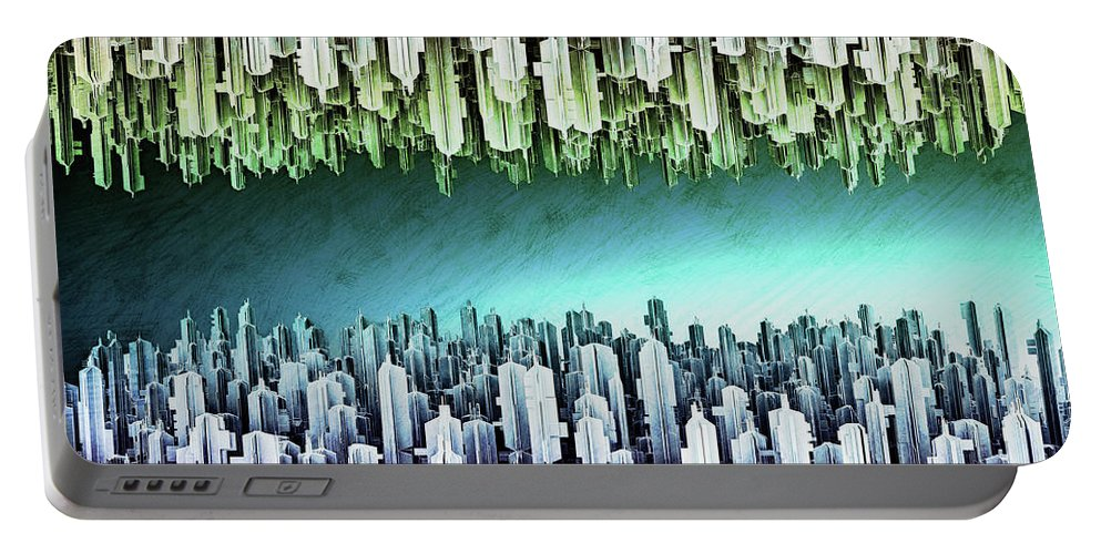 Architecture Portable Battery Charger featuring the mixed media Reversible Futuristic Megalopolis City by Nenad Cerovic