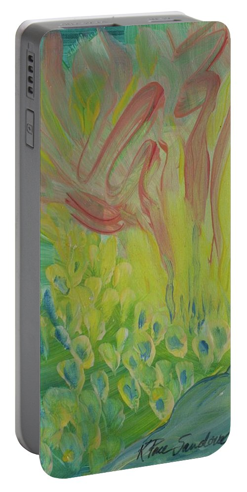 Abstract Portable Battery Charger featuring the painting Revival Fires by Kathleen Sandoval