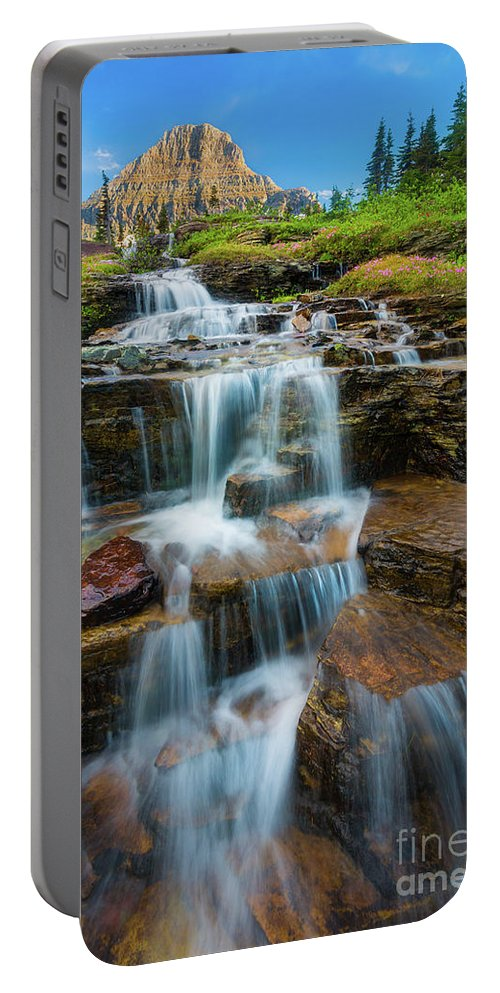 America Portable Battery Charger featuring the photograph Reynolds Mountain Waterfall by Inge Johnsson
