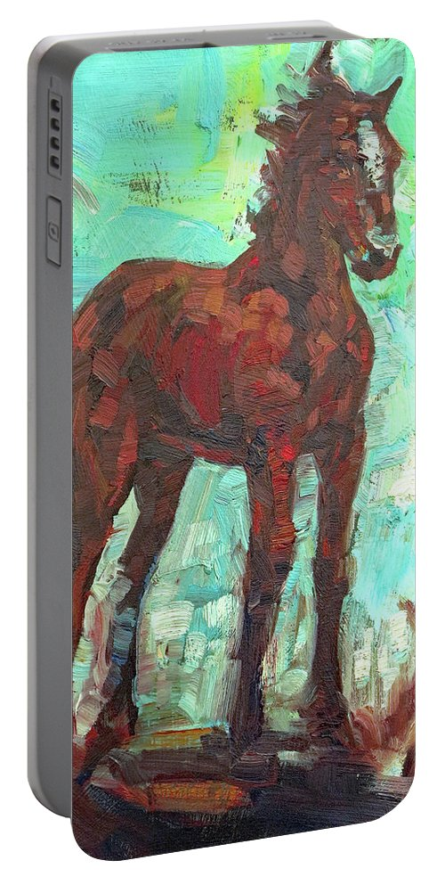 Horse Portable Battery Charger featuring the painting Rezpony by Lara Branca