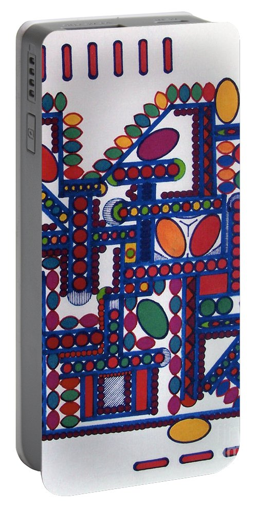 Colorful Dots Portable Battery Charger featuring the drawing Rfb0412 by Robert F Battles
