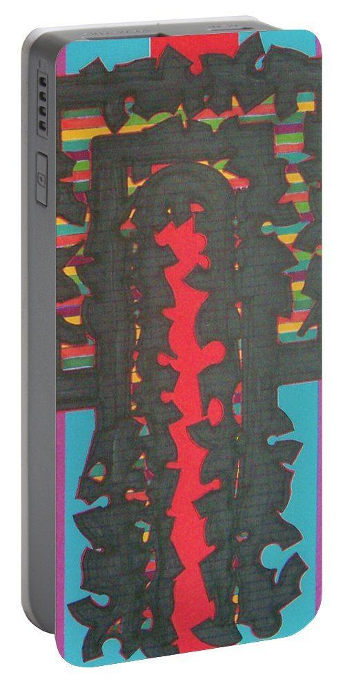 Abstract Portable Battery Charger featuring the drawing Rfb0420 by Robert F Battles
