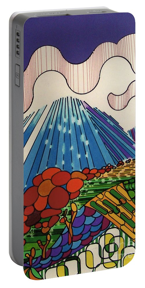 Tidal Wave Portable Battery Charger featuring the drawing Rfb0523 by Robert F Battles