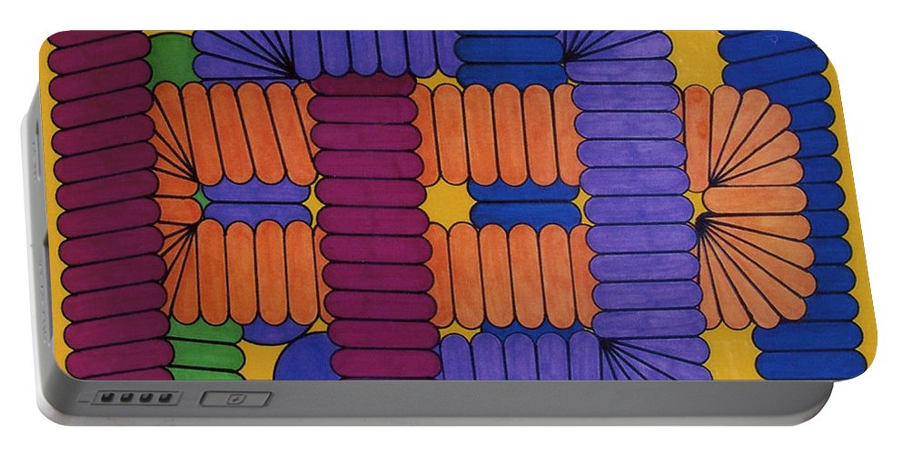 Abstract Portable Battery Charger featuring the drawing Rfb0612 by Robert F Battles