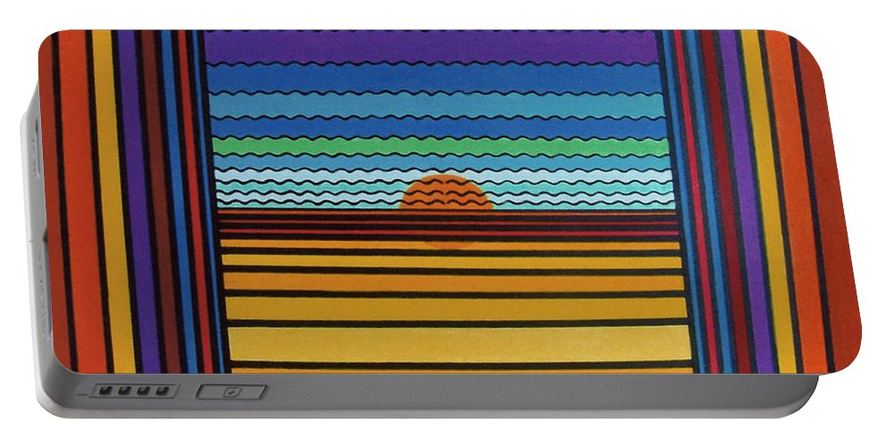 Framed Sunset Portable Battery Charger featuring the drawing Rfb0641 by Robert F Battles