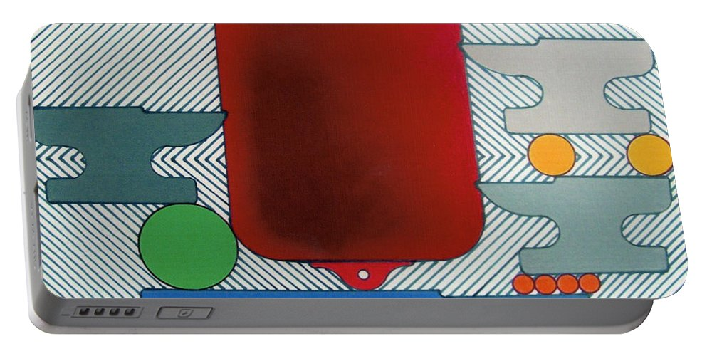 Abstract Portable Battery Charger featuring the drawing Rfb0929 by Robert F Battles