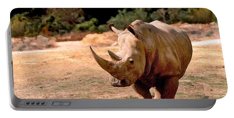 Animal Portable Battery Charger featuring the painting Rhino by Steve Karol