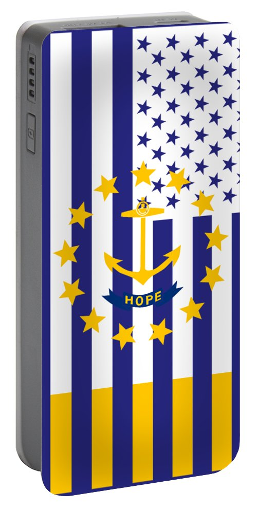 Rhode Island Portable Battery Charger featuring the digital art Rhode Island State Flag Graphic Usa Styling by Garaga Designs