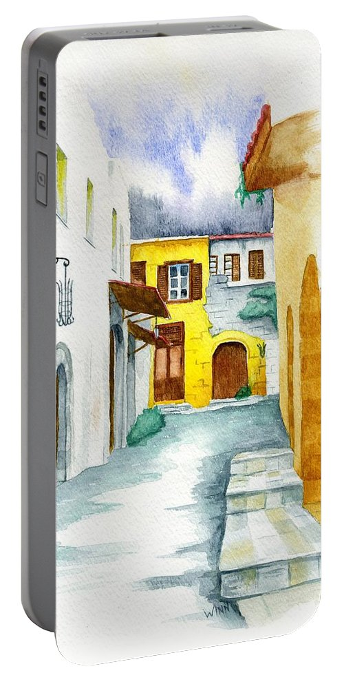 Rhodes Portable Battery Charger featuring the painting Rhodes Greece by Brett Winn