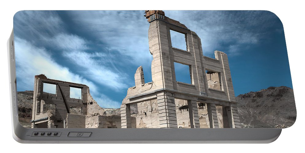 Rhyolite Portable Battery Charger featuring the photograph Rhyolite Ghost Bank by Debbie D Anthony