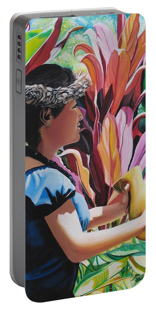 Rhythm Portable Battery Charger featuring the painting Rhythm Of The Hula by Marionette Taboniar
