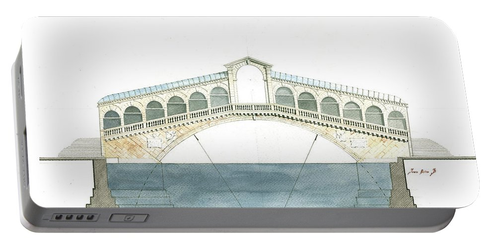 Architecture Artwork Portable Battery Charger featuring the painting Rialto Bridge Venice by Juan Bosco