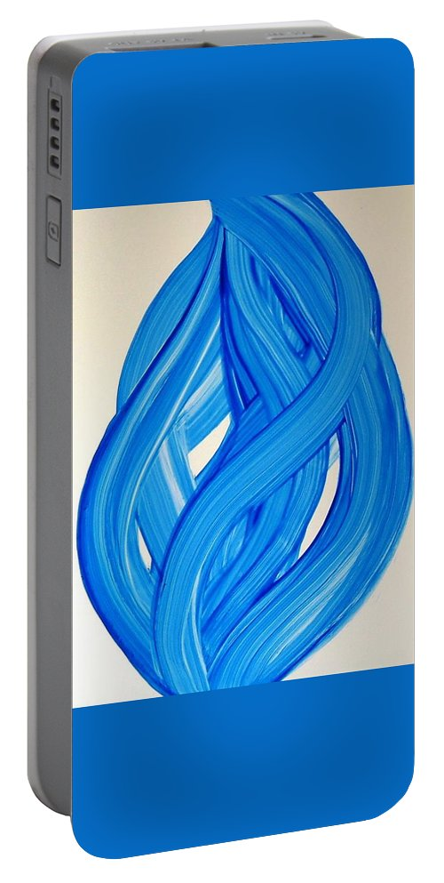Abstract Modern Contemporary Yupo Art Painting Romantic Pop Blue Portable Battery Charger featuring the painting Ribbons Of Love-blue by Manjiri Kanvinde