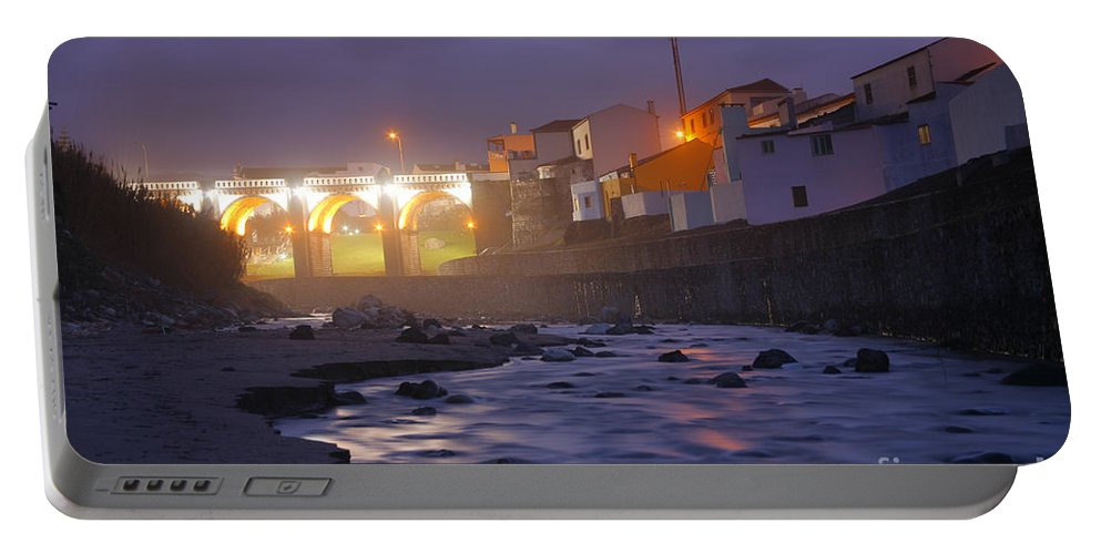 Ribeira Grande Portable Battery Charger featuring the photograph Ribeira Grande At Night by Gaspar Avila