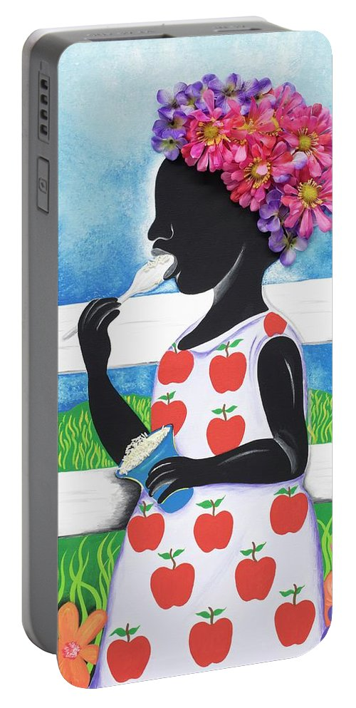 Sabree Portable Battery Charger featuring the painting Rice Cream Girl by Patricia Sabree