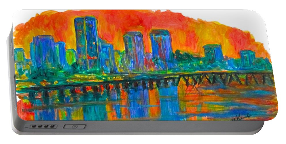 City Sunsets For Sale Portable Battery Charger featuring the painting Richmond Gold by Kendall Kessler