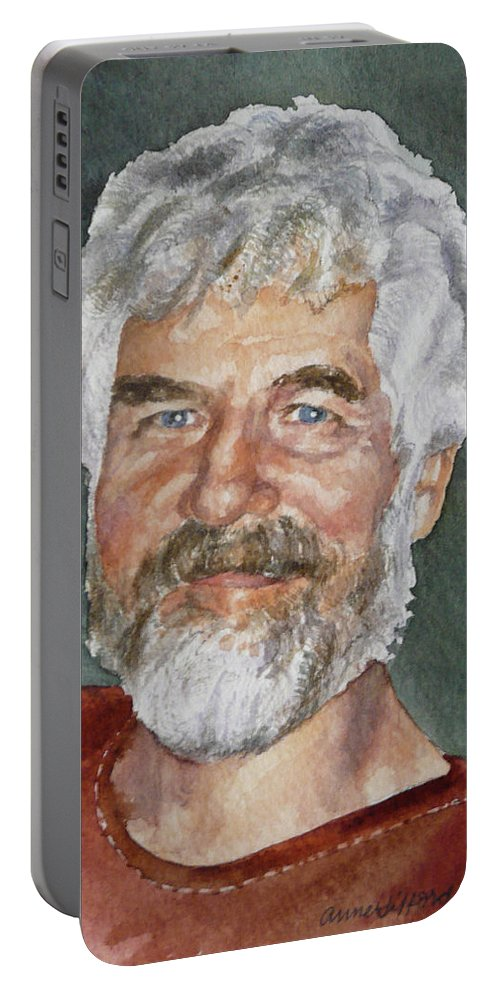 Portrait Of Man With Beard Painting Portable Battery Charger featuring the painting Rick by Anne Gifford