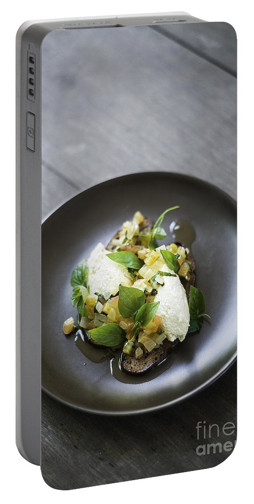 Bread Portable Battery Charger featuring the photograph Ricotta And Salad With Herbs On Rye Bread by Jacek Malipan