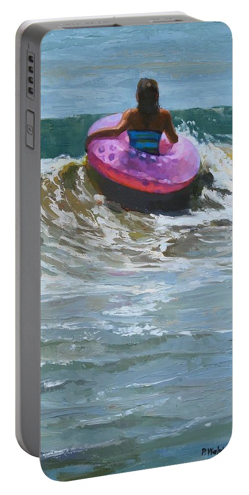 Beach People Portable Battery Charger featuring the painting Ride The Wave by Patricia Walsh