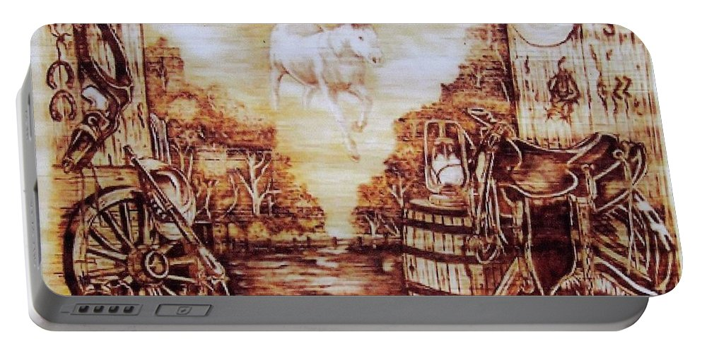 Western Portable Battery Charger featuring the pyrography Riders In The Sky by Danette Smith