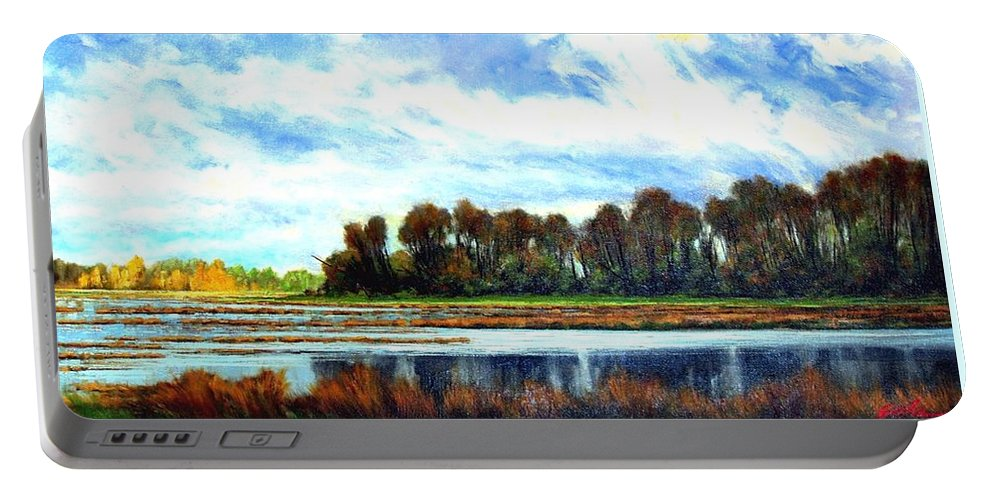 Landscapes Portable Battery Charger featuring the painting Ridgefield Refuge Early Fall by Jim Gola