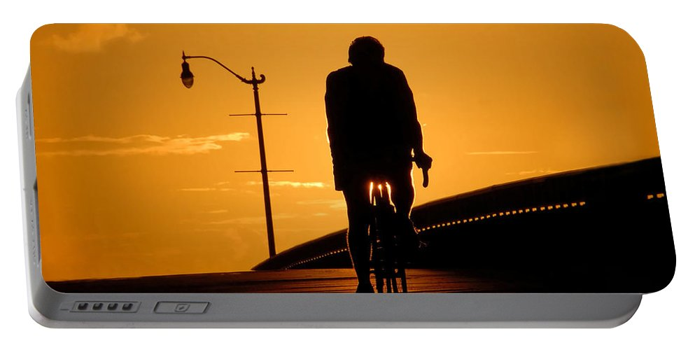 Bicycle Portable Battery Charger featuring the photograph Riding At Sunset by David Lee Thompson