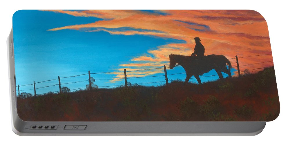 Cowboy Portable Battery Charger featuring the painting Riding Fence by Jerry McElroy
