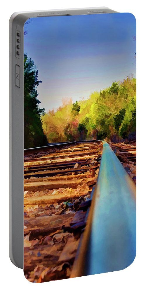 Railroad Portable Battery Charger featuring the photograph Riding The Rail by Ricky Barnard