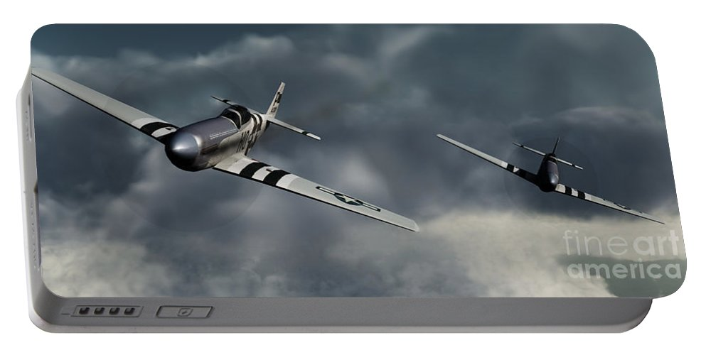 Warbirds Portable Battery Charger featuring the digital art Riding The Storm by Richard Rizzo