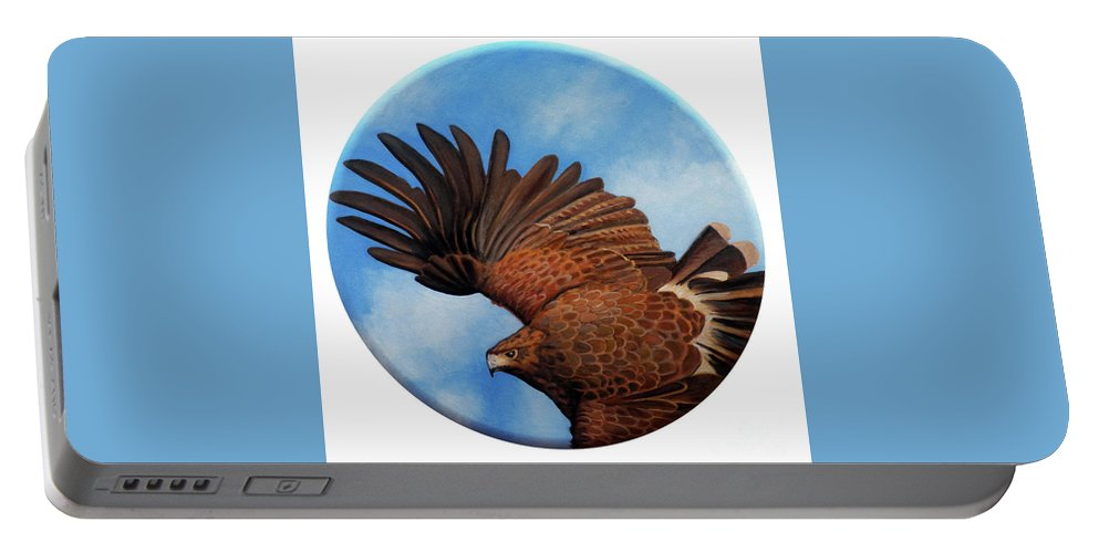 Hawk Portable Battery Charger featuring the painting Riding The Wind by Brian Commerford