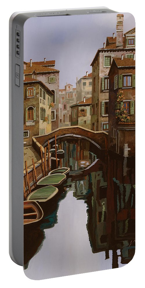 Venice Portable Battery Charger featuring the painting Riflesso Scuro by Guido Borelli