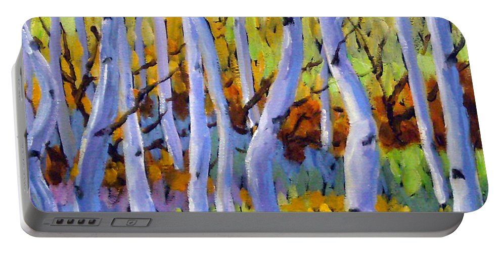 Art Portable Battery Charger featuring the painting Rigaudon Of Aspens by Richard T Pranke