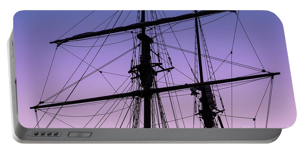 Tall Ships Portable Battery Charger featuring the photograph Rigged And Ready by Christopher Marona