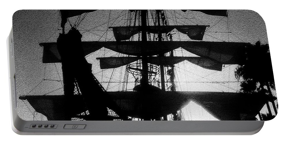 Sailing Ship Portable Battery Charger featuring the painting Rigging and Sail by David Lee Thompson