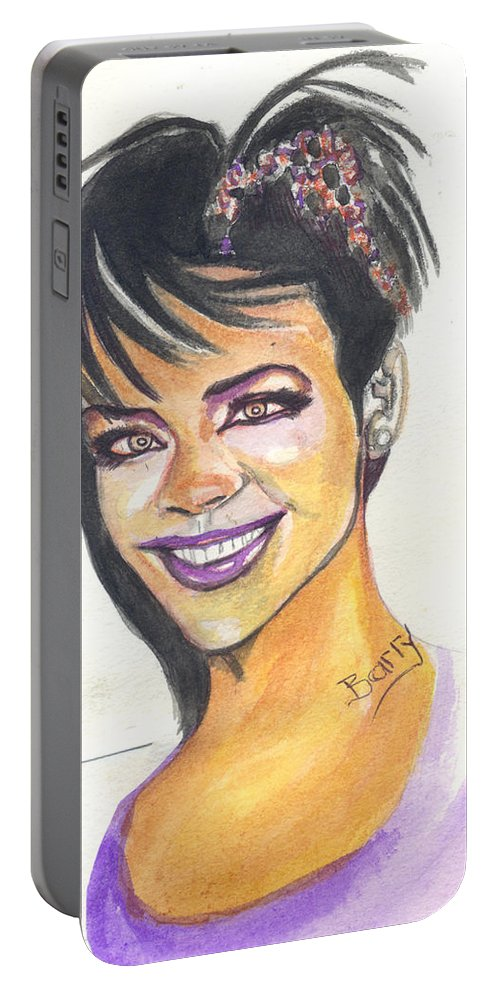 Music Portable Battery Charger featuring the painting Rihanna by Emmanuel Baliyanga