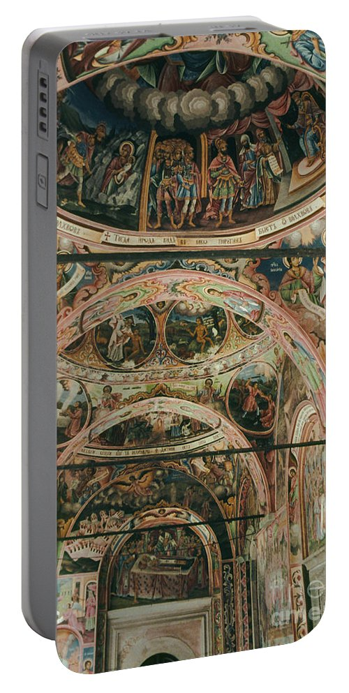 Rila Monastery Bulgaria Monasteries Icons Interior Odds And Ends Fresco Frescos Orthodox Church Churches Dome Domes Architecture Chapel Chapels Portable Battery Charger featuring the photograph Rila Monaster by Bob Phillips