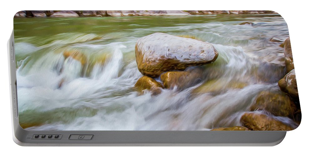 Big Bend Ranch State Park Portable Battery Charger featuring the digital art Rio Grande Rocky Flow by SR Green