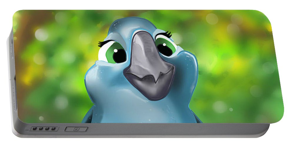 Rio Portable Battery Charger featuring the digital art Rio Parrot Illustration by Lungu Larisa- Cristina