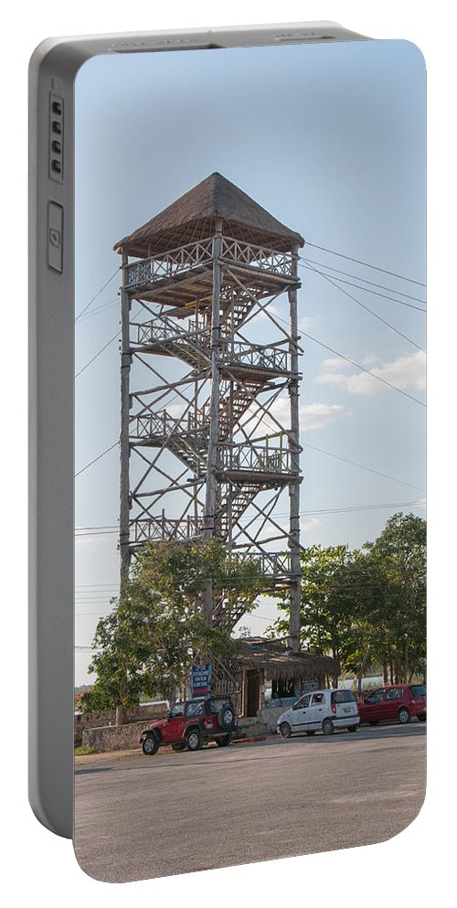 Yucatan Peninsula Portable Battery Charger featuring the digital art Rip Line Tower At Coba Village by Carol Ailles