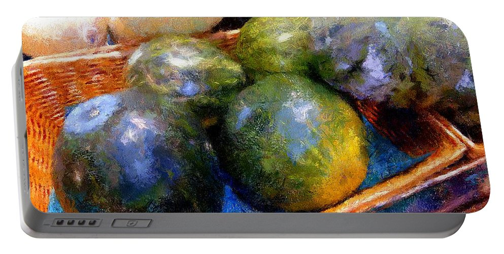 Basket Portable Battery Charger featuring the painting Ripe And Luscious Melons by RC DeWinter