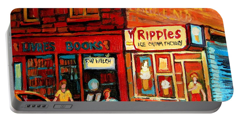 Ripples Icecream Factory Portable Battery Charger featuring the painting Ripples Ice Cream Factory by Carole Spandau