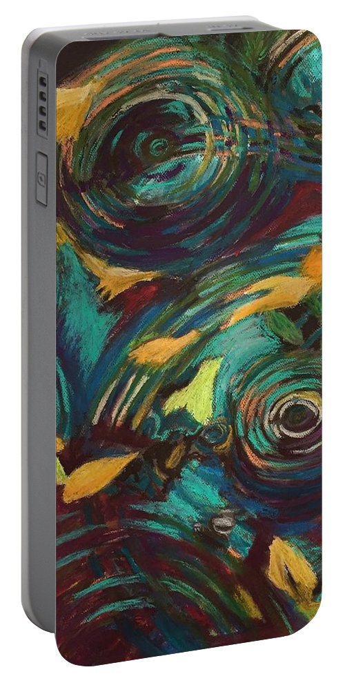 Oil Pastels Portable Battery Charger featuring the pastel Ripples in Time by Art Nomad Sandra Hansen