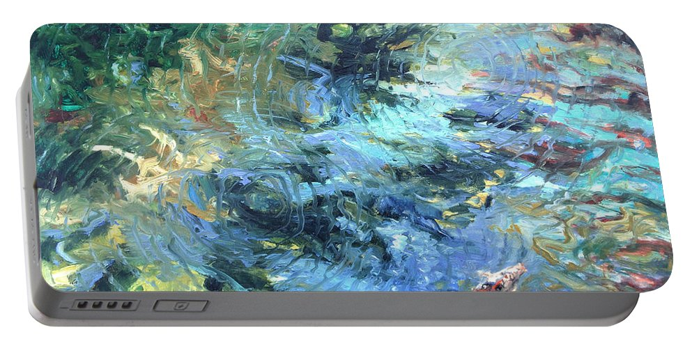 Marine Portable Battery Charger featuring the painting Reef by Rick Nederlof