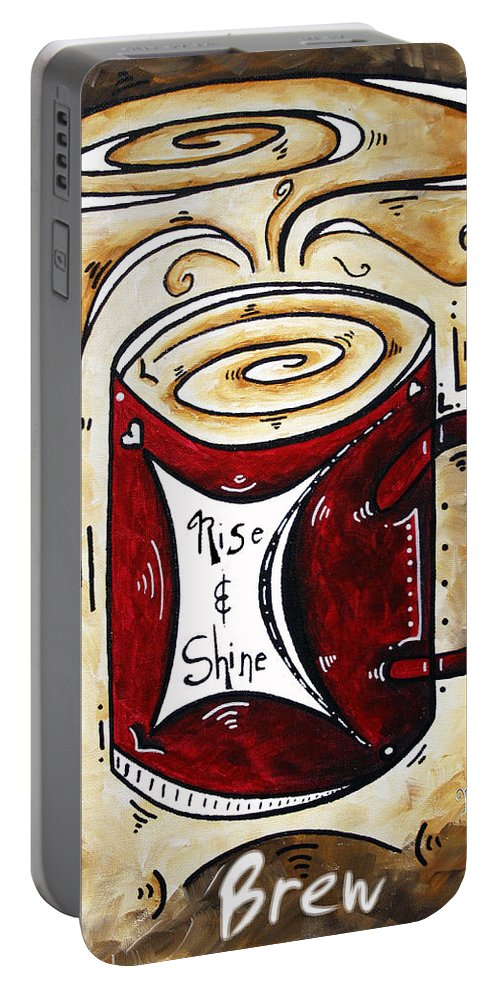 Food Portable Battery Charger featuring the painting Rise And Shine By Madart by Megan Duncanson