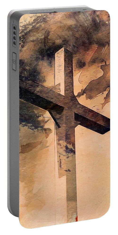 Cross Portable Battery Charger featuring the digital art Risen by Aaron Berg