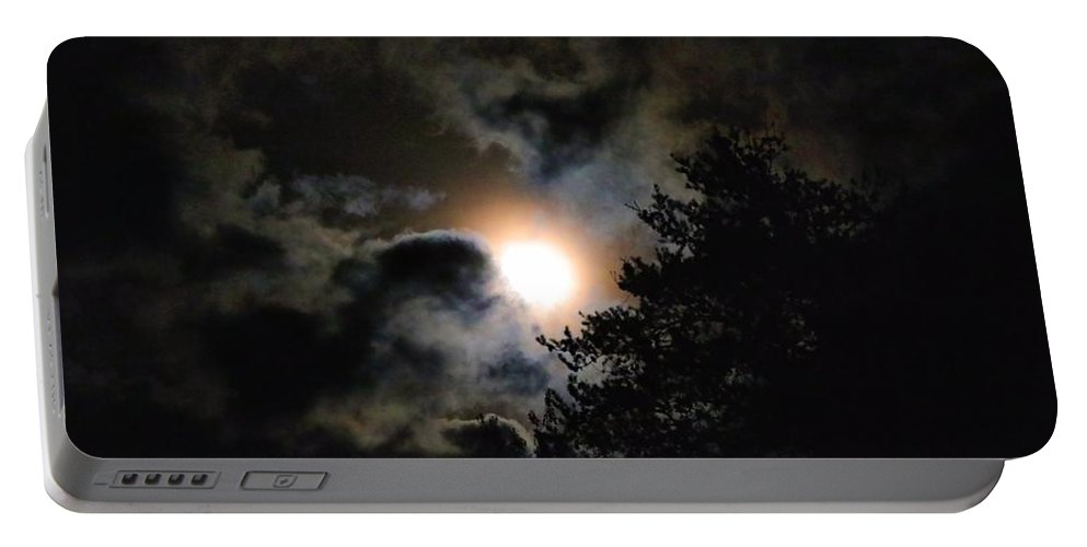 Moon Portable Battery Charger featuring the photograph Rising Moon by Kathryn Meyer