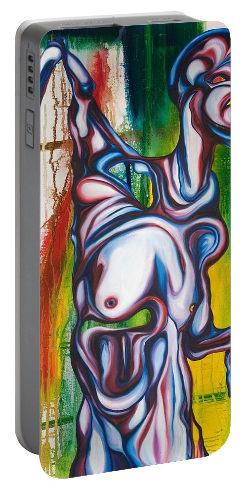 Monster Portable Battery Charger featuring the painting Rising Son by Sheridan Furrer