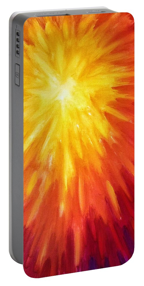 Sun Portable Battery Charger featuring the painting Rising Sun by Brena Patchen